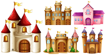 fantacy: Five design of castle towers illustration