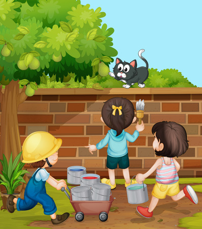 kids painting: Kids painting brick wall in the garden illustration