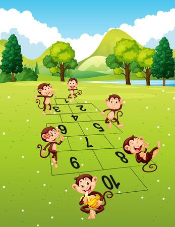 jumping monkeys: Monkeys playing hopscotch in park illustration