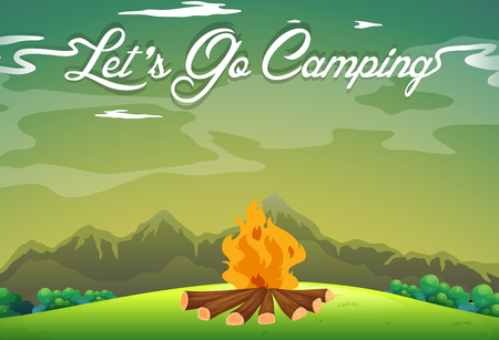 ground: Camping ground with campfire in the field illustration