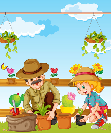 planting: Father and daughter planting in the garden illustration Illustration