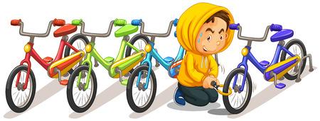 bike parking: Man stealing bike from the parking lot illustration