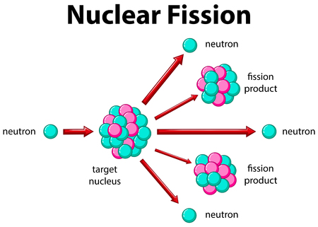 nuclear fission: Diagram showing nuclear fission illustration