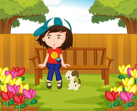 child sitting: Girl and dog in the garden illustration Illustration