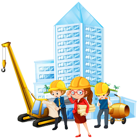 woman engineer: People working on construction site illustration