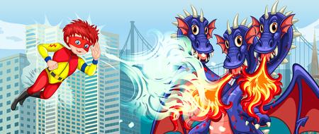 three headed: Superhero fighting three headed dragon in city illustration