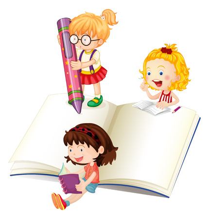 adolescent: Girls reading and writing book illustration Illustration