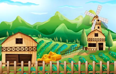 farmland: Farmland with barn and windmill illustration