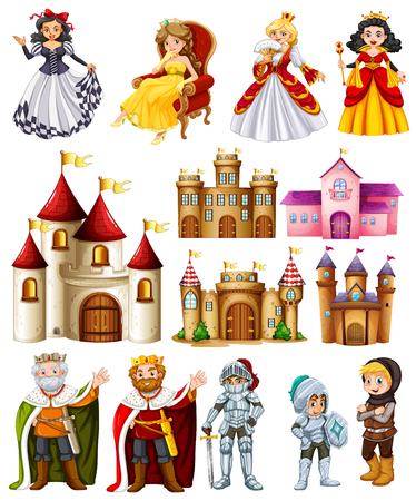 Different fairytales characters and palace illustration