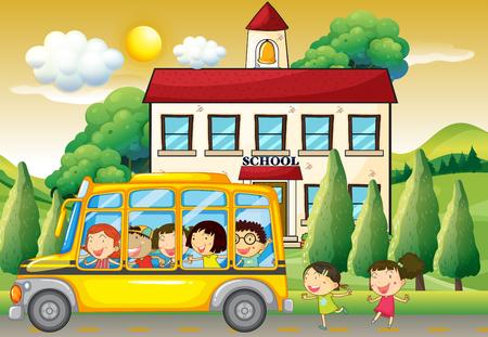 Students riding school bus to school illustration