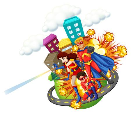 city background: Superhero and city background illustration