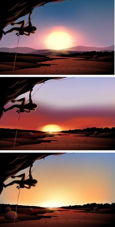 rock climber: Scene with rock climber at sunset illustration