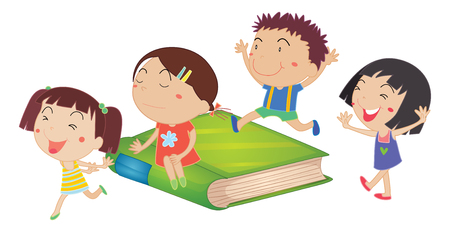 green book: Children and giant green book illustration