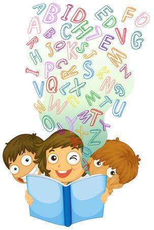 english book: Children reading english book illustration