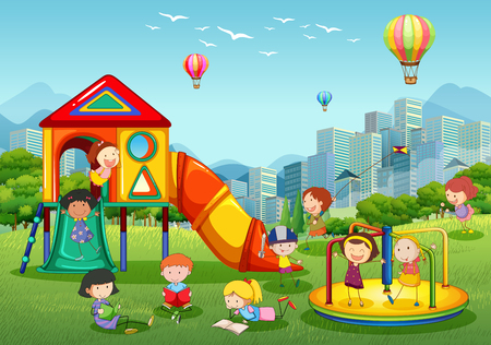 Children playing at playground in city park illustration