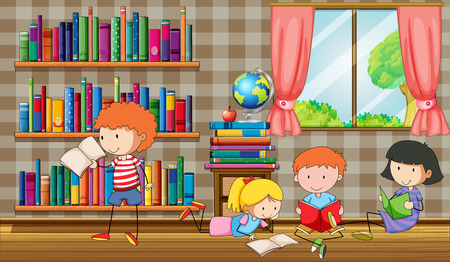 libraries: Kids reading books in the library illustration