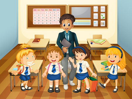Male teacher and students in class illustration Illustration