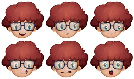 caras felices: Muchacho con los vidrios que tienen diferentes emociones ilustración