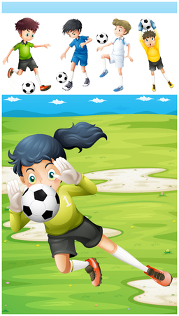 athletic: Football players in the field illustration Illustration