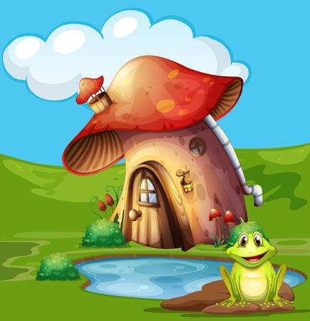 garden pond: Green frog sitting by the pond illustration