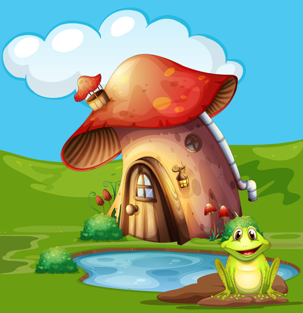 Green frog sitting by the pond illustration