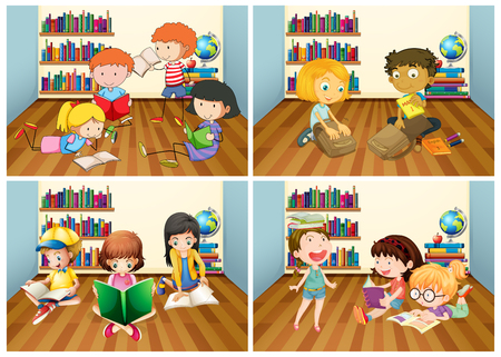 reading room: Students reading book in room illustration