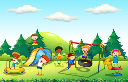 boys playing: Many kids playing in the playground illustration Illustration