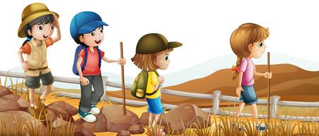 Children hiking up the mountain illustration