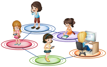 communication devices: Kids and communication devices illustration