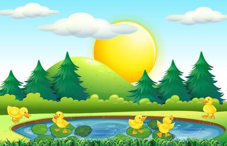 Five little ducks in the pond illustration