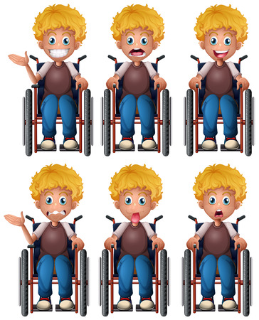 healthy kid: Boy on wheelchair with different emotions illustration