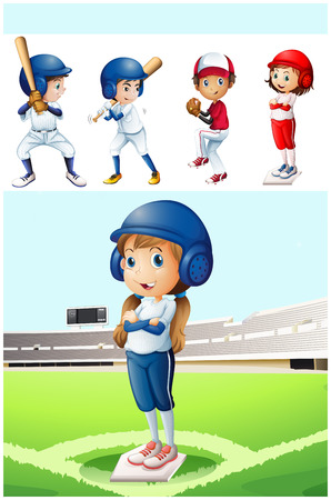 baseball stadium: Kids in baseball uniform in the field illustration