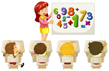 occupations: Students learning math in classroom illustration