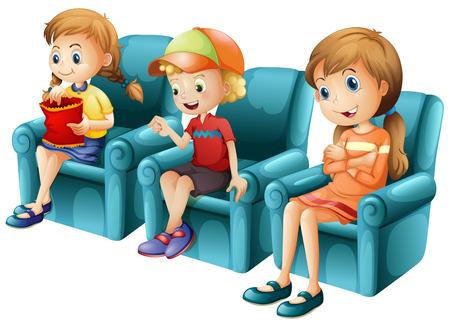 Children sitting on blue sofa illustration Иллюстрация