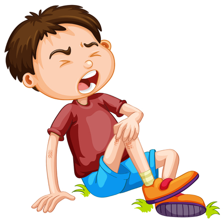 child crying: Boy hurting from accident illustration
