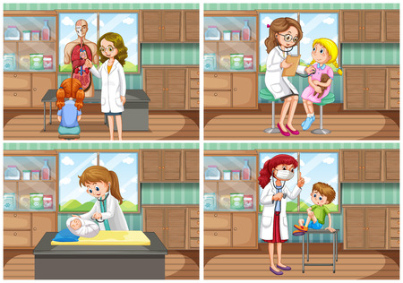 baby sick: Doctor and patient at clinic illustration