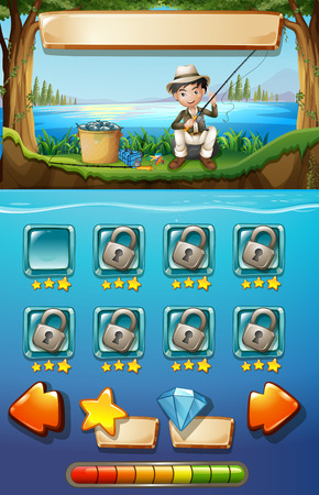 man fishing: Game template with man fishing in background illustration