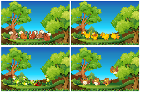 tree  forest: Scenes with animals in the garden illustration
