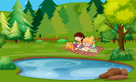 Two girls reading book by the pond illustration