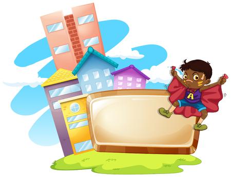 Frame design with boy and buildings illustration Illustration