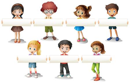 group of kids: Boys and girls holding banner illustration Illustration