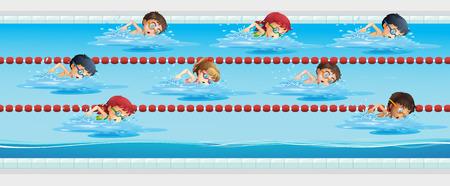 Children swimming in the swimming pool illustration