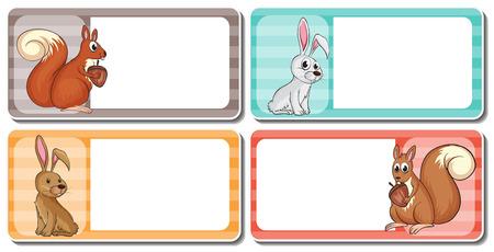 cute animals: Label design with cute animals illustration