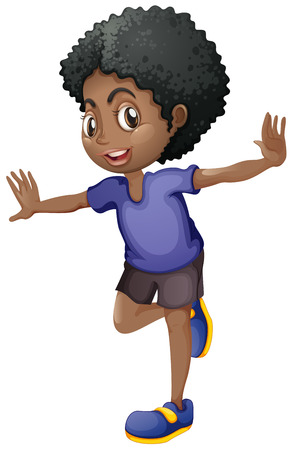 one child: African american boy smiling illustration