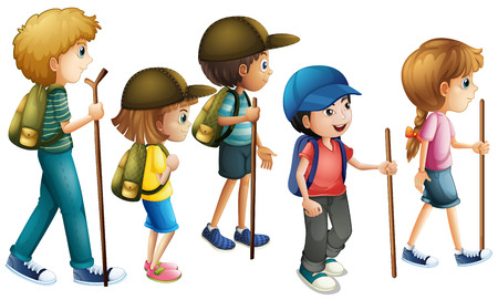 adolescent boy: Boys and girls with hiking outfit illustration Illustration