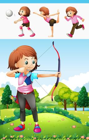 sports girl: Girl doing archery and other sports illustration