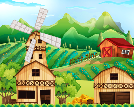 Farm scene with barn and windmill illustration