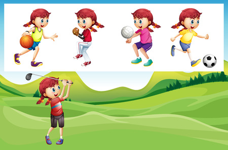 sports girl: Girl playing golf and other sports illustration