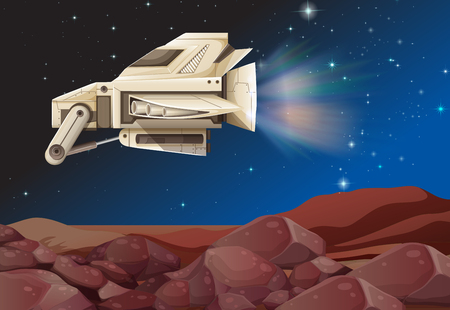 unidentified: Spaceship flying above the planet illustration