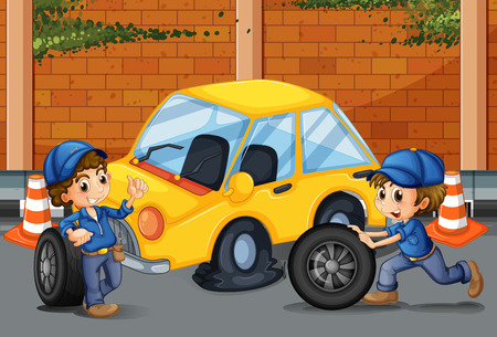 occupations: Mechanics changing tyres on the road illustration Illustration
